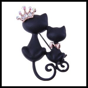 Jewelry - 2 Whimsical Black Cats Brooch